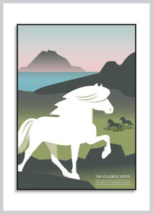 The Icelandic Horse poster hvor islænderen løber i den bakkede natur