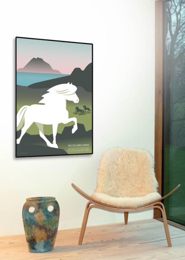 The icelandic Horse poster i farverne hvid, grøn, blå og lyserød