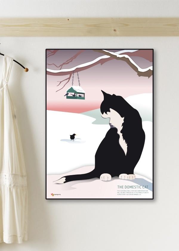 Sort Huskat plakat med hvid og lyserød baggrund hænger på væg
