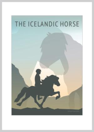 Konkurrencedrømme kort med islænder og dens rytter i grønne og blå nuancer