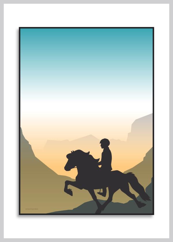 Plakat med islænder og rytter der rider i morgendis