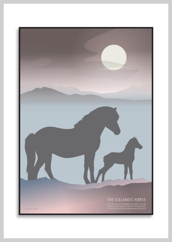 Icelandic Horse Foal plakat i lilla og blå nuancer