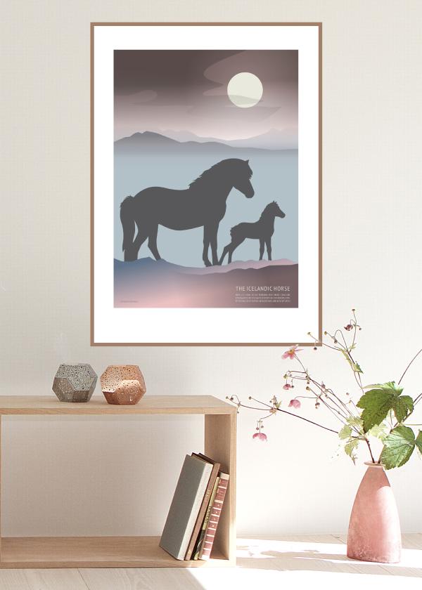 Icelandic Horse Foal poster i lilla og blå nuancer
