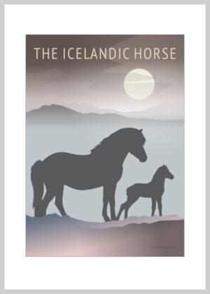Icelandic Horse Foal kort i lilla og blå nuancer