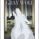 Plakat med ulven der hyler mod månen