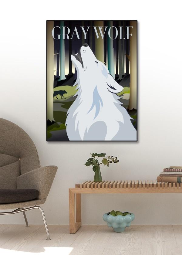 Plakat med ulven der hyler mod månen hænger på vægen