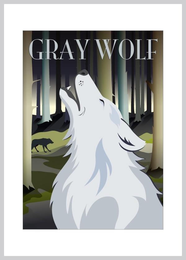 Kort med ulven der hyler mod månen