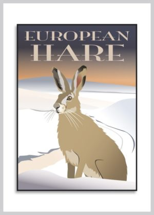 Hare plakat med snedækket landskab som baggrund