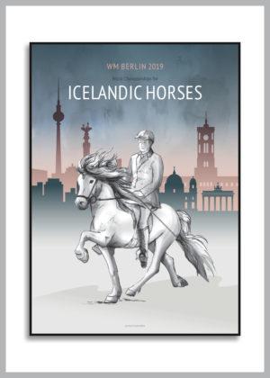 VM 2019 Icelandic horses poster i blå nuancer