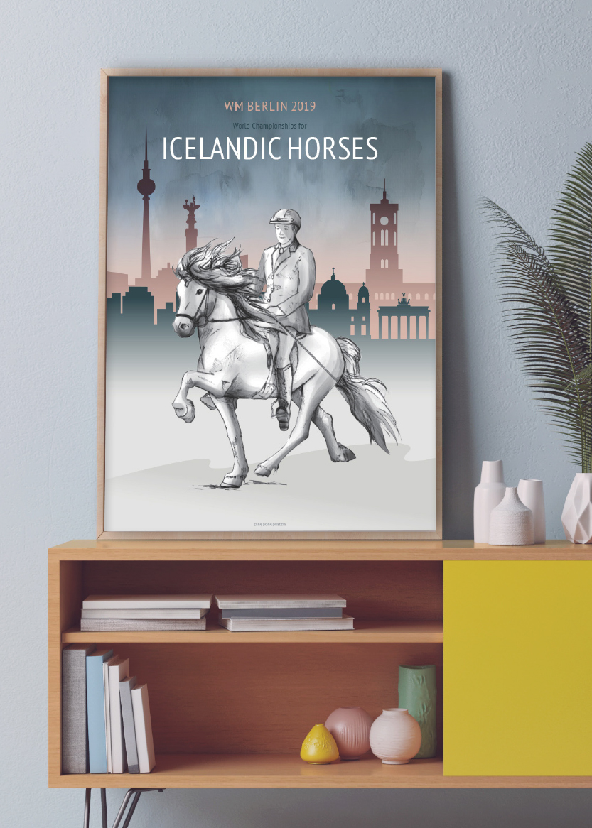 VM 2019 Icelandic horses poster interior set-up