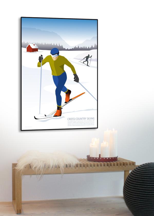 Cross Country Skiing plakat i blå og hvide nuancer