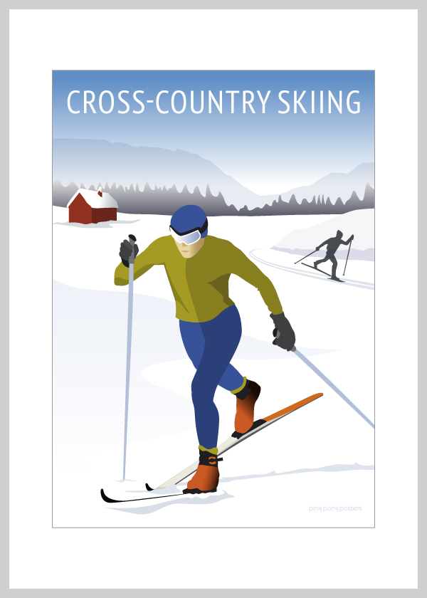 Cross Country Skiing kort i blå og hvide nuancer