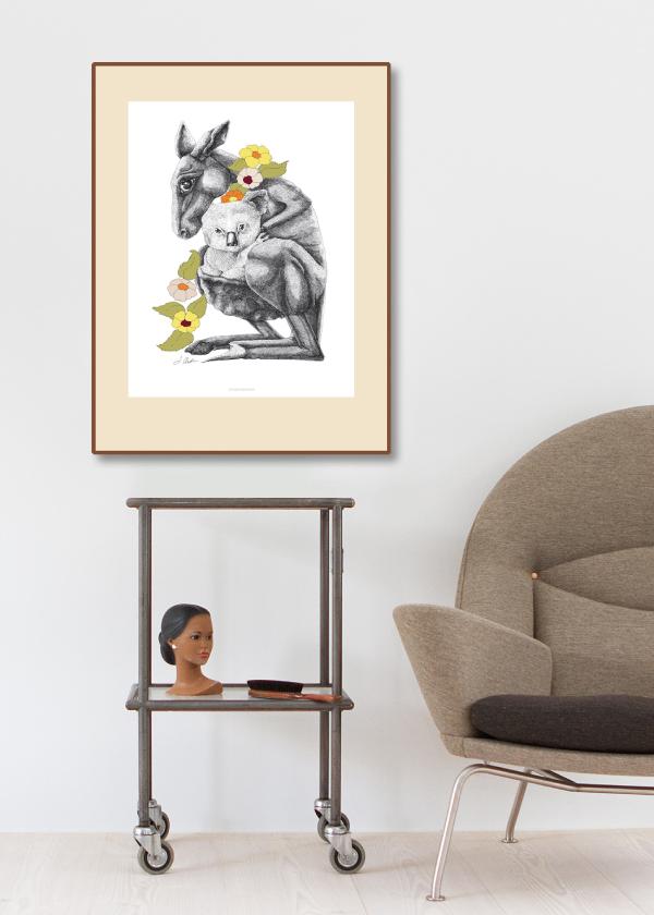 kænguru plakat hænger på vægen