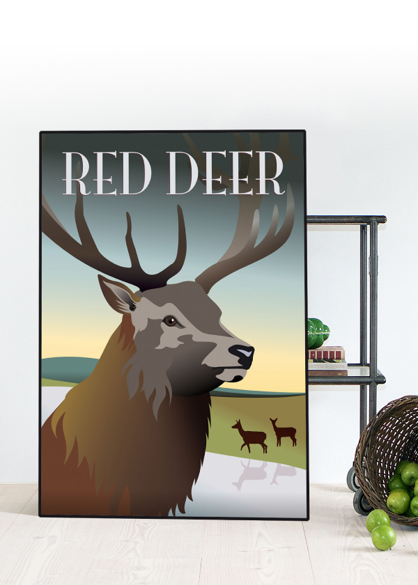 Rød hjort plakat står på gulvet