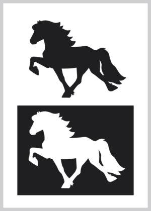 Sticker toeltendehestvenstre i hvid eller sort