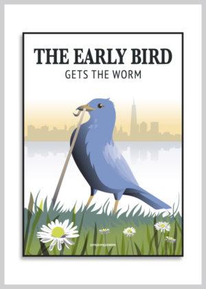 Early Bird Get the Worm med en blå fugl på grøn græsplæne