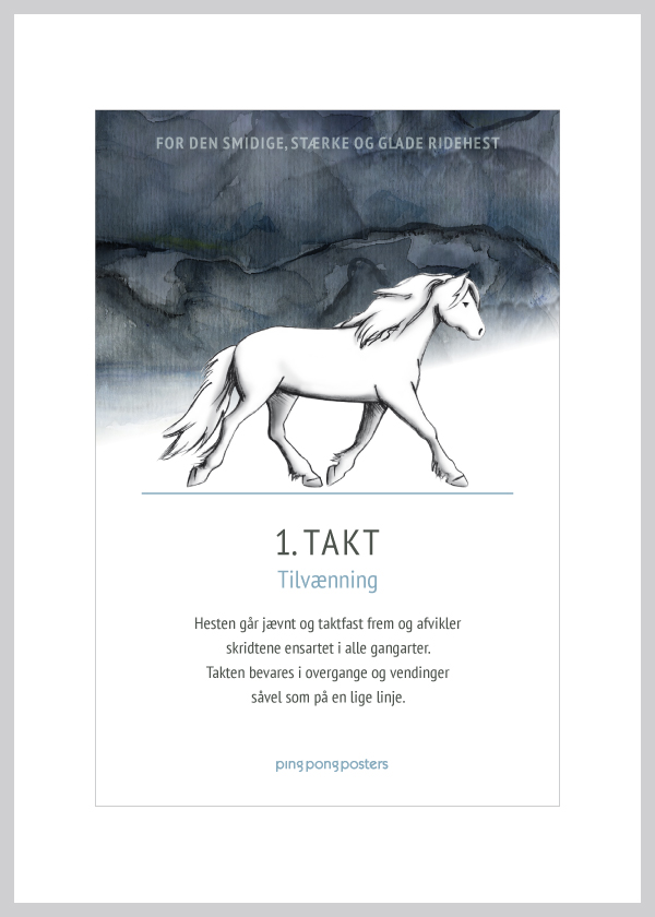 Basic Step kort med islænderhesten takt i blå nuancer