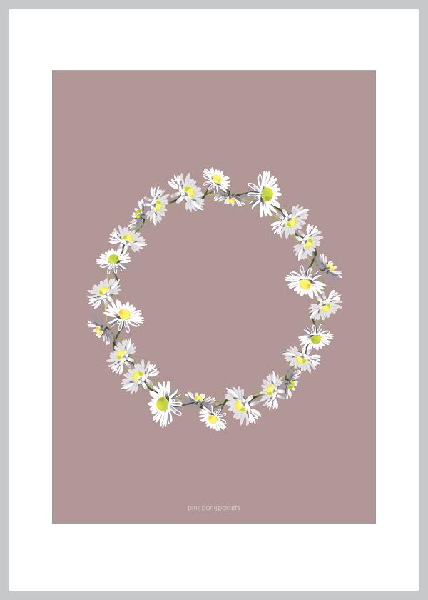 Belliskrans lykønskningskort med baggrund i lilla farve