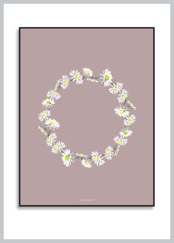 Belliskrans plakat med baggrund i lilla nuance