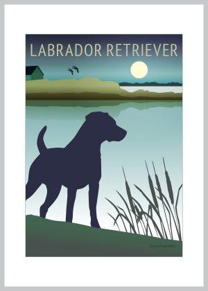Labrador retriever plakat i blå og grønne farver