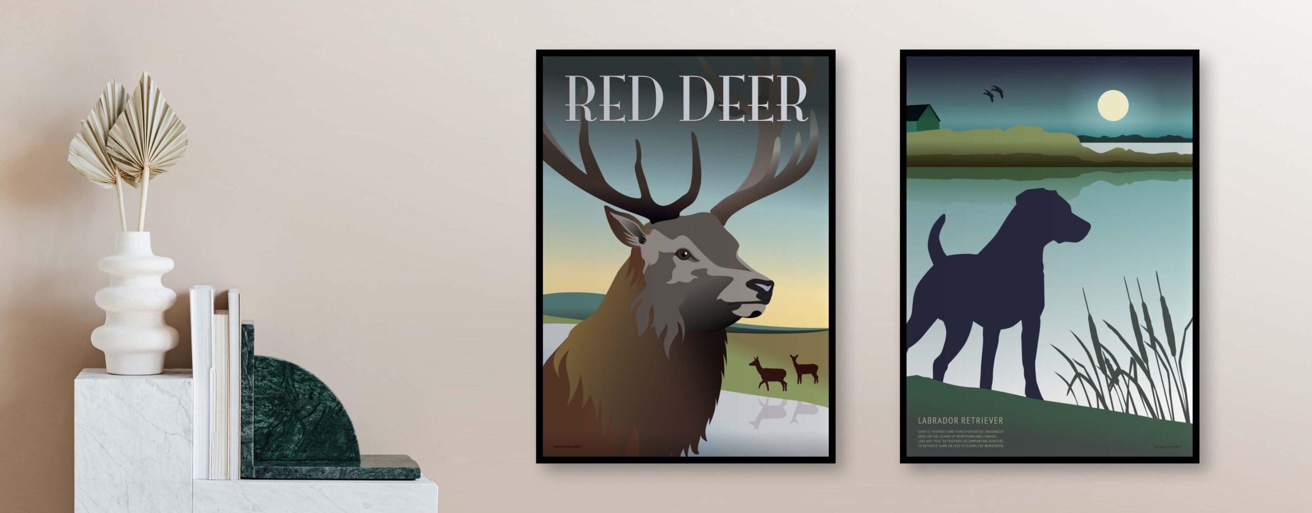 Plakaterne med den røde hjort og labrador retriever hænger på vægen