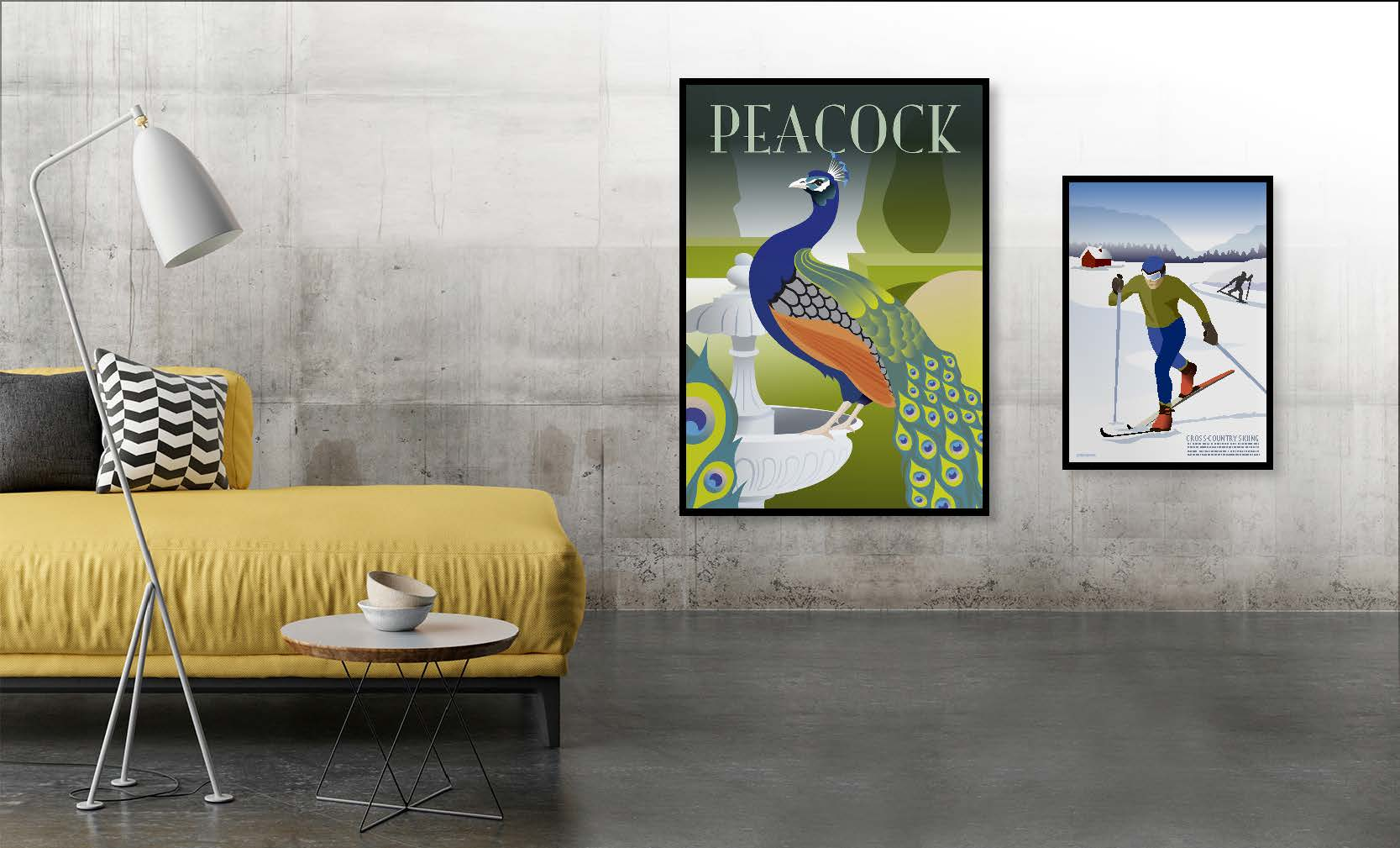 Plakaterne påfuglen og skiløberen hænger i stuen