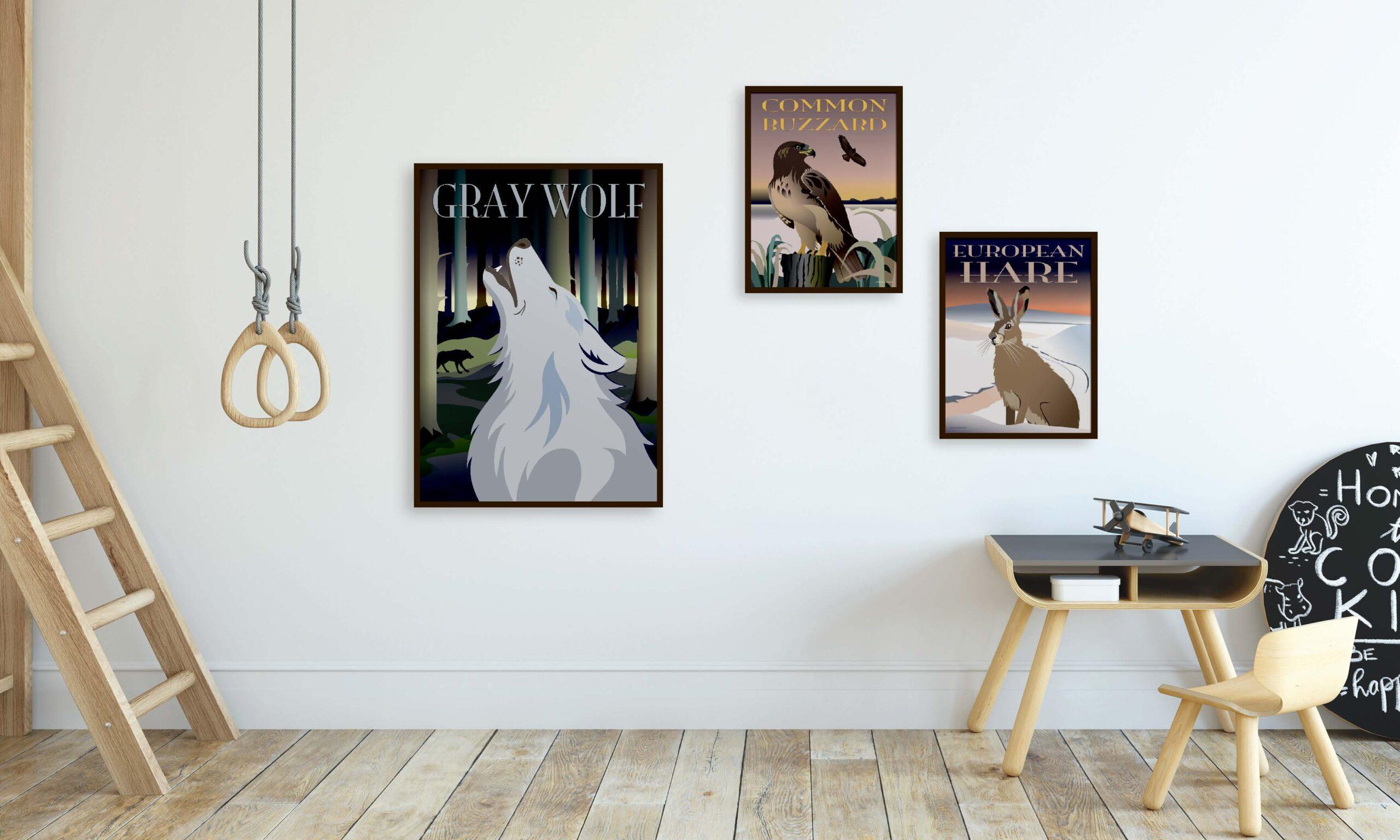 Tre plakater til drengeværelset med ulven, musvågen og haren