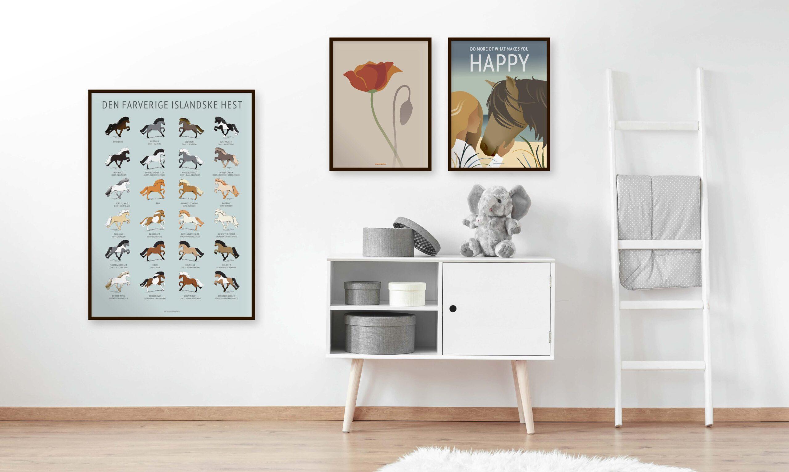 Tre plakater til pigeværelset med islænderheste og valmueblomsten
