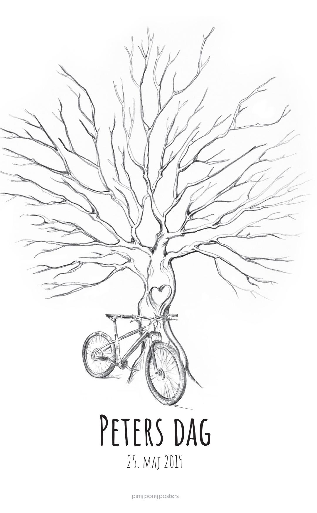 Fingeraftryk plakat træ med en cykel foran træstammen
