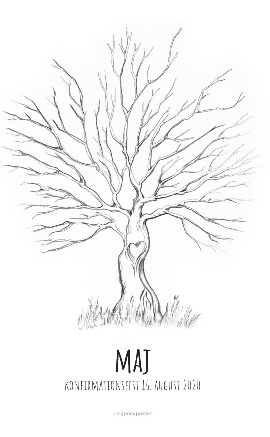 Fingeraftryk træ med hjerte i træstammen