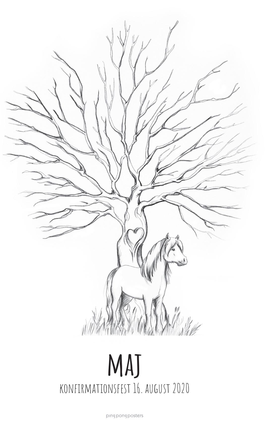 Fingeraftryk træ med islænder pony foran træstammen
