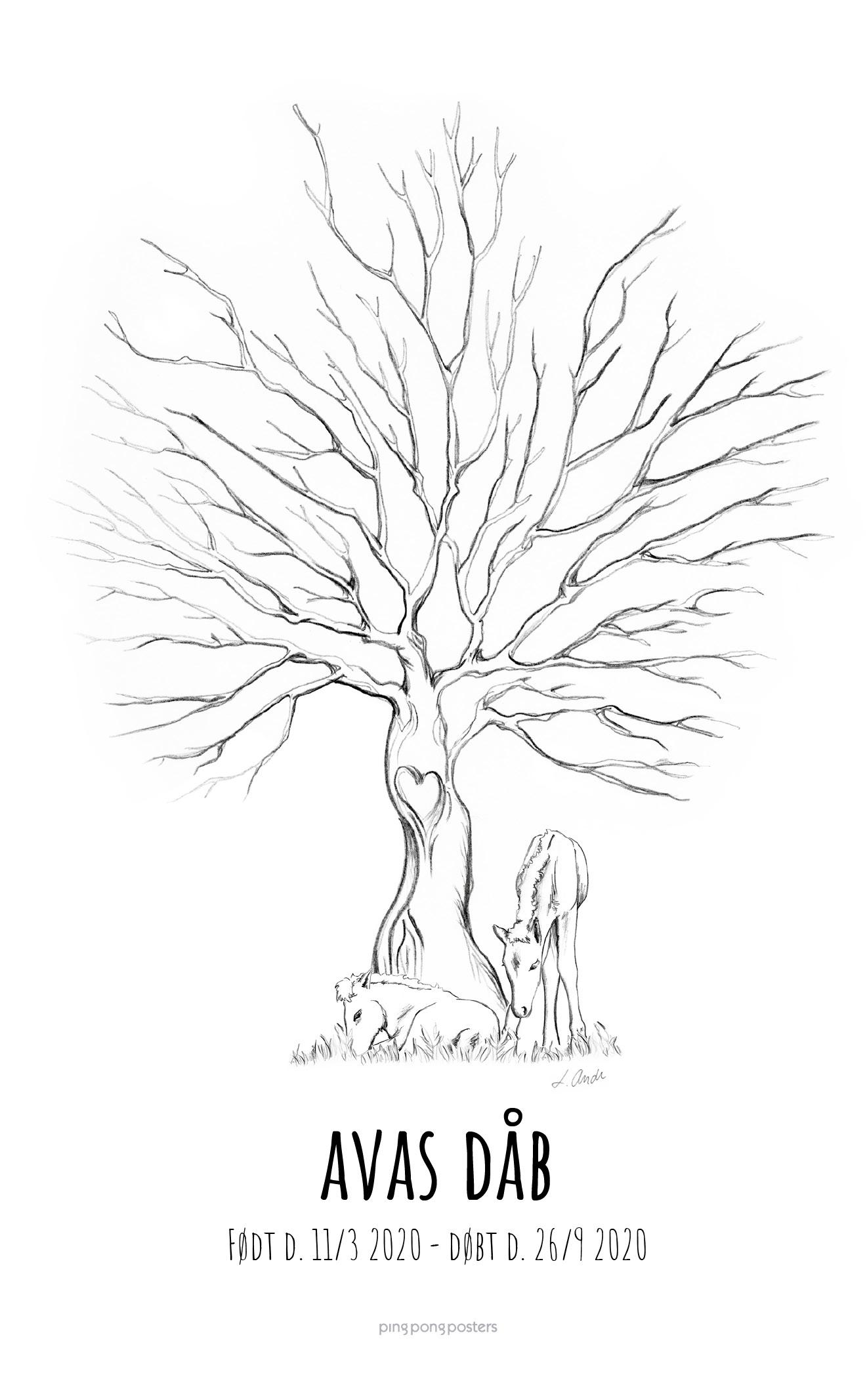 Fingeraftryk træ med to føl foran træet