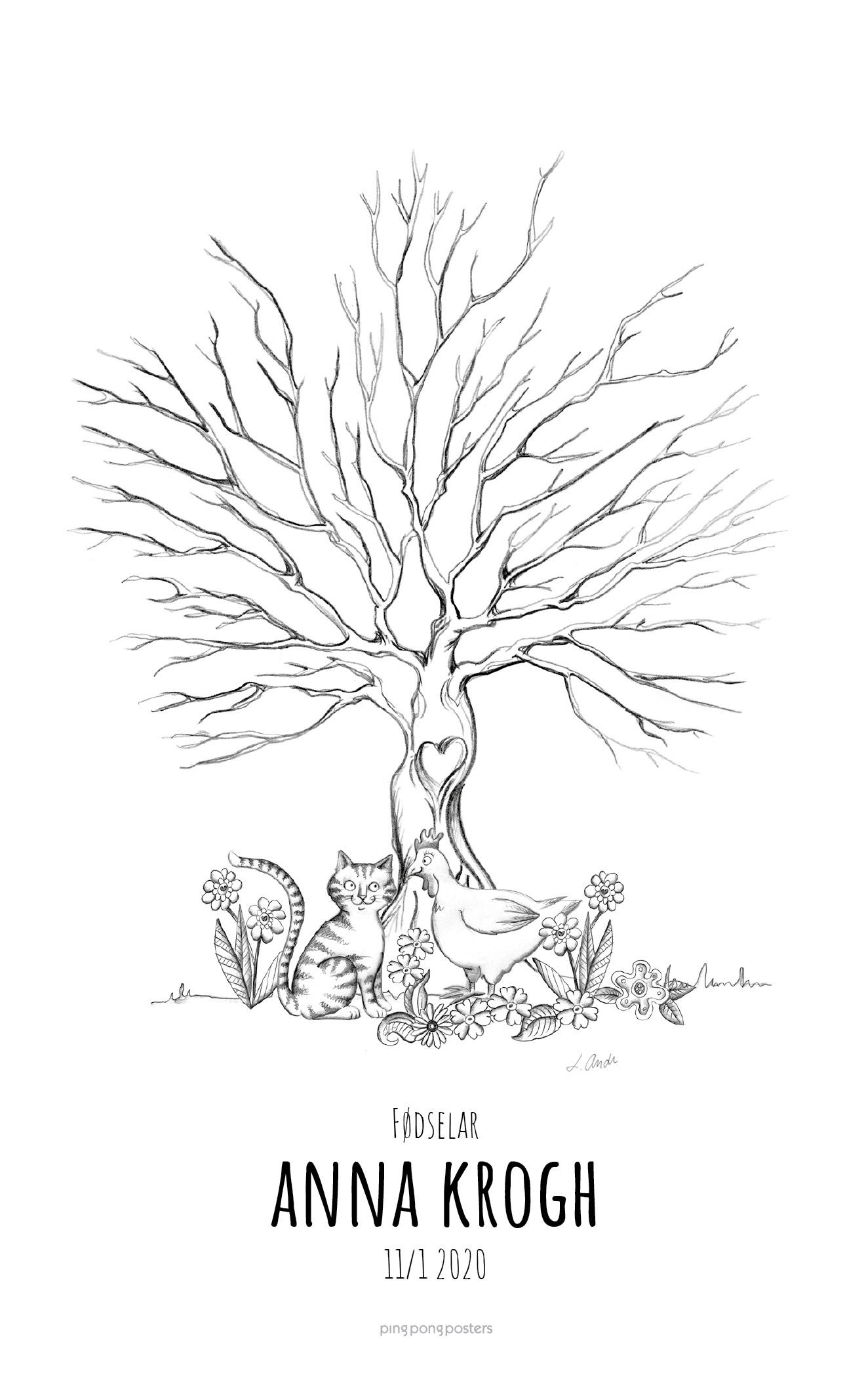 Fingeraftryk træ med en kat, høne og blomster
