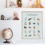 20 forskellige katte der viser deres attitude hænger på væggen
