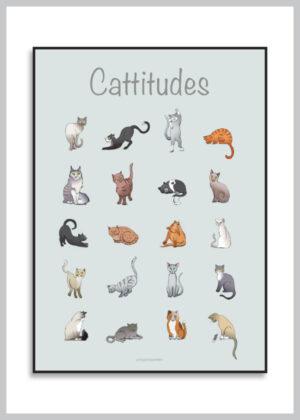 Plkat med 20 forskellige katteattituder