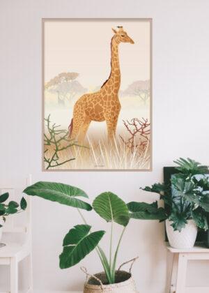 Giraf plakaten hænger på væggen