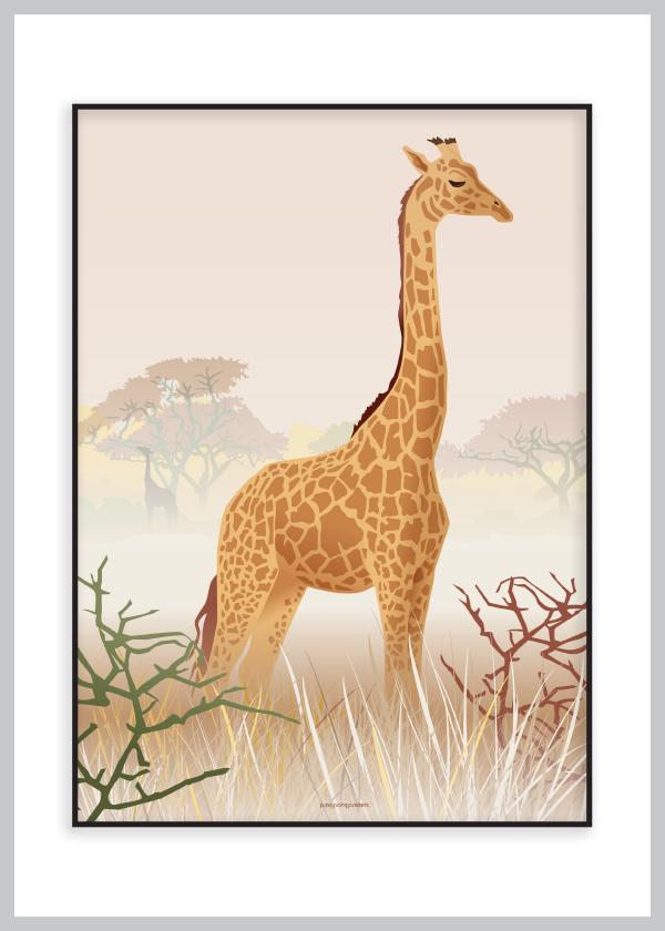 Plakat hvor giraffen kigger ud over landskabet