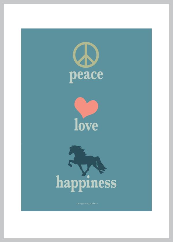 A5 kort med Peace, Love og Happiness