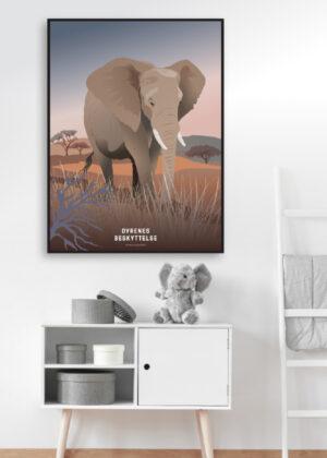 Plakat med elefant på børneværelset