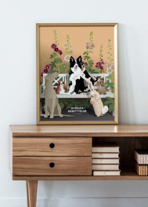 Plakat med hunde i entreen