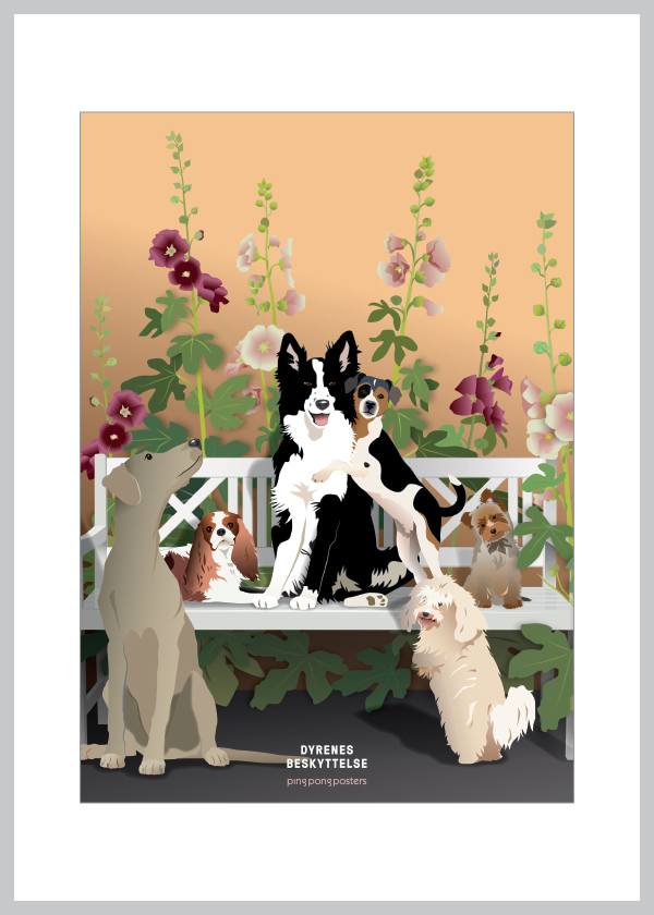 A5 kort med hunde og stokroser