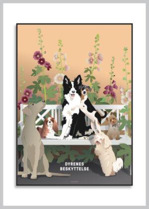 Plakat med hunde og stokroser
