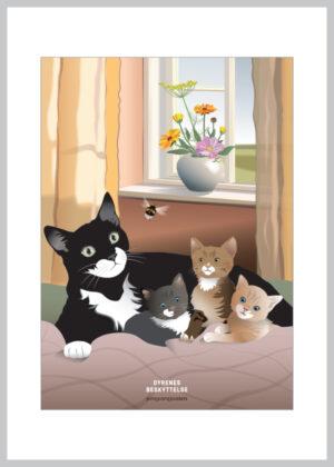 A5 kort med sommerligt kattemotiv