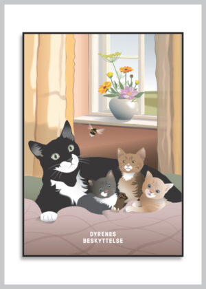 Plakat med sommerligt kattemotiv