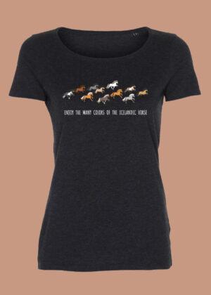 Antrasit grå t-shirt med iprint af slandske heste