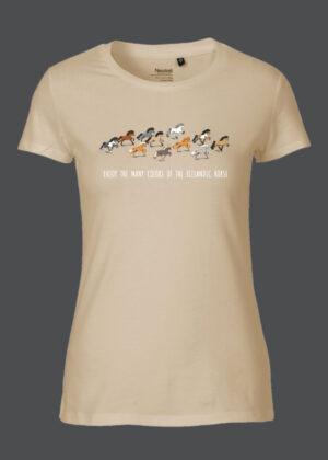 Sandfarvet t-shirt med print af hesteflok